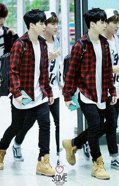 Image about kpop in Jimin ❤ by 🖤 on We Heart It Korean Fashion Men, Korean Men, Kpop Fashion, Kpop Outfits, Casual Outfits, Men Casual, Flannel Outfits, Estilo Bad Boy, Jimin Airport Fashion