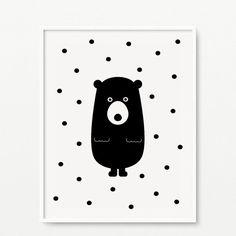 Bear nursery print Black and white wall art by cocoandmintstudio Nursery Prints, Nursery Wall Art, Vogel Quilt, Art Mur, Monochrome Nursery, Baby Posters, Bear Nursery, Cute Easy Drawings, Bird Quilt