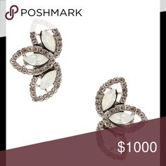 """Free shipping 1 hour and reduced price❤️❤️❤️ Frame your face with sparkling petals created from elegantly glimmering crystals . Silver plated base metal with glass and crystal. 0.75"""" W x 1.5"""" L Olivia Welles Jewelry Earrings"""