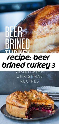 Recipe: beer brined turkey 3 Roast Turkey Recipes, Turkey Brine, Roasted Turkey, Vegetarian Christmas Recipes, Vegetarian Recipes, Beer Brine Recipe, Pear Tart, Pecan, Thanksgiving