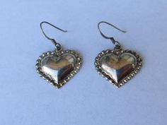 Vintage Sterling Silver Puffy Heart Pierced Earrings by PGSCoins