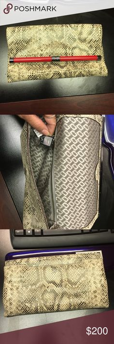"DVF clutch Excellent condition Diane Von Furstenberg envelope Python clutch, no dust bag but mint condition. No stains tears odors etc. Measures 9.5"" x 5"" Diane von Furstenberg Bags Clutches & Wristlets"
