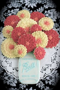 Cookies with Character- Flowers & Mason Jar (not really a recipe, but very cute idea)