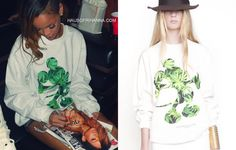 Rihanna in DimePiece Designs Happiest Place On Earth Mickey Mouse weed print sweatshirt.