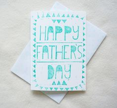 Happy father's day geometric triangle pattern bold modern Block Print hand printed greeting card in green glitter ink. Free UK Shipping