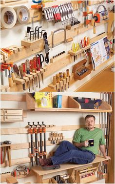 21 best DIY workshop & craft room ideas on creative storage & organization utilizing pegboards, shelving, closet & wall for a productive clutter free space! - A Piece of Rainbow organization diy 21 Inspiring Workshop and Craft Room Ideas for DIY Creatives Craft Room Storage, Diy Storage Shelves, Diy Garage Storage, Workshop Storage, Diy Workshop, Creative Storage, Tool Storage, Storage Ideas, Craft Rooms