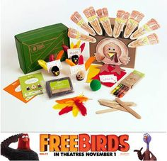 Kiwi Crate Thanksgiving turkey collage with FREE BIRDS