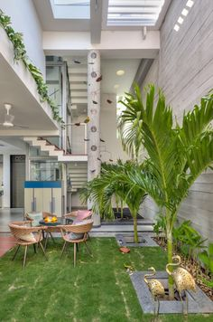 Vastey – The No wood House – Aangan Architects House Outer Design, House Arch Design, Courtyard Design, Home Building Design, Bungalow House Design, Courtyard House, Home Design Plans, Facade House, Home Room Design