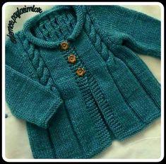 Baby Sweater Knitting Pattern, Knit Baby Sweaters, Baby Knitting Patterns, Knitting Designs, Baby Patterns, Knitted Baby Clothes, Diy Crafts Knitting, Knitting For Kids, Knitting For Beginners