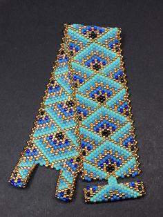 PATTERN - Single Peyote - Decorative Boxes Bracelet - Rita Getlan Krasik - Welcome to the World of Decor! Diy Bracelets To Sell, Bead Loom Bracelets, Beaded Bracelet Patterns, Bead Loom Patterns, Peyote Patterns, Jewelry Patterns, Peyote Bracelet, Miyuki Beads, O Beads