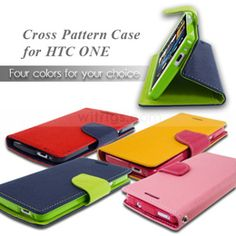 Dual Color Magnetic Wallet with Stand Diary Leather Case for HTC One, high quality,good looking and really useful~