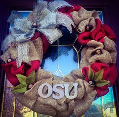 OSU Burlap Wreath with Bow, Ohio State Buckeyes, by TheCraftyChicShoppe