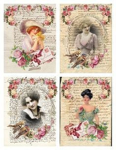 "Some Vintage Image ATC size tags for my followers to download.  Click on picture to increase the size, then right click on picture and click on ""save as"".  Enjoy!"