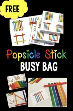 Popsicle Stick printable pattern cards FREE - perfect busy bag or classroom center activity with preschool and kindergarten! An important skill for kids to work on before reading!