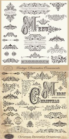 2 Sets of classic vector vintage decorative Christmas ornaments and patterns with floral frames, calligraphic embellishments, corners, flourish borders, etc. Flourish Border, Illustrations Vintage, Etiquette Vintage, Image Deco, Vintage Logo, Free Vector Graphics, Vector Vector, Vintage Images, Design Elements