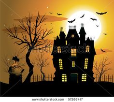 Haunted house halloween background by hugolacasse, via Shutterstock