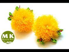 "Мастер-класс Канзаши.Резинки для волос ""Хризантемы"".Scrunchy/The flowers of satin ribbons - YouTube"