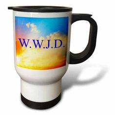 3dRose Wwjd, blue lettering on sky background picture, Travel Mug, 14oz, Stainless Steel