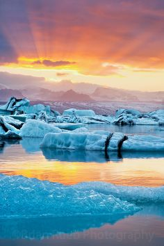 A fiery sunset at Jokulsarlon in Iceland.