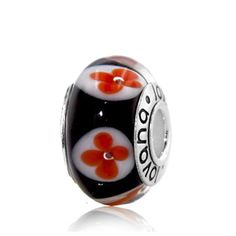 Black Murano Glass Red Flowers Mounted within White Circles on Sterling Silver #charms  #fashion