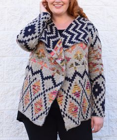 Simply Couture Blue & Pink Geometric Cardigan - Plus by Simply Couture #zulily #zulilyfinds