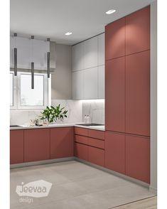 Red Kitchen, Kitchen Cupboards, Kitchen Furniture, Furniture Design, Decoration Hall, Crockery Cabinet, Modern Kitchen Interiors, Kitchen Room Design, Cabinet Design