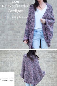 Easy Relaxed Marled Cardigan Knitting Pattern A super easy, begi. Easy Relaxed Marled Cardigan Knitting Pattern A super easy, beginner friendly cardigan knitting pattern . Shrug Knitting Pattern, Knit Cardigan Pattern, Sweater Knitting Patterns, Knitting Stitches, Crochet Patterns, Loom Knitting, Free Knitting, Crochet Ideas, Stitch Patterns
