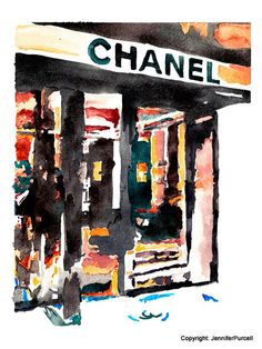Aquarelle, Fashion Illustration Print - vitrine Chanel, Jennifer Purcell