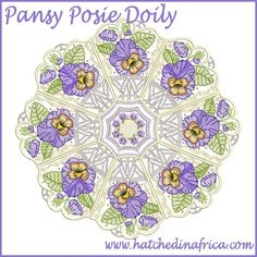 """Pansy Posie Doily"" Using your and hoop, and the designs in this set, you can create spectacularly large doilies for display in your home and gifting to others. Take Spring indoors, when you get this set today!"