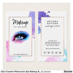 Chic Creative Watercolor Eye Makeup Artist Business Card