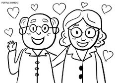 Grandparent's Day Coloring Pages (Printable for Free) Cartoon Faces Expressions, Grandparents Day, Coloring Pages, Printables, Education, Drawings, Artist, Fictional Characters, Fashion