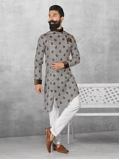 Linen fabric grey color kurta pajama mens kurta designs in 2 Mens Indian Wear, Mens Ethnic Wear, Indian Groom Wear, Indian Men Fashion, Mens Fashion Suits, Gents Fashion, Mens Fashion Blog, Indian Ethnic Wear, Wedding Kurta For Men