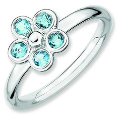 Sterling Silver Stackable Expressions Blue Topaz Flower Ring Size 5 * You can find out more details at the link of the image. #Xmasjewelry