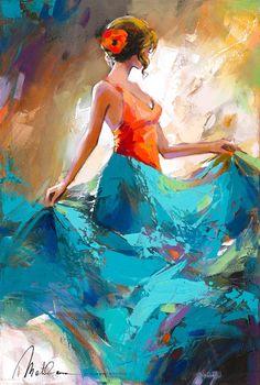 Browse Artwork by Anatoly Metlan - Park West Gallery Art Espagnole, Art Texture, Dance Paintings, Spanish Art, Simple Acrylic Paintings, West Art, Art Abstrait, Dance Art, Beautiful Paintings