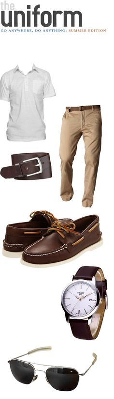 Summer Outfit for anywhere! White polo tee + Chinos + Boat shoes. the pocket on the polo adds a little visual interest