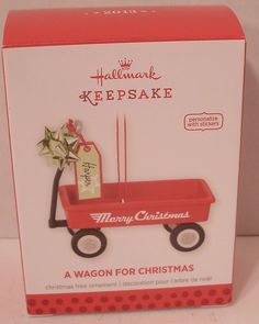 Hallmark Ornament 2013 Wagon for Christmas Personalizable Red NIB NEW Holiday