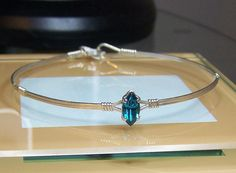 Beautiful Silver Filled 2 wire Bracelet with Swarvoski Blue Zircon Crystal on Etsy, $9.95