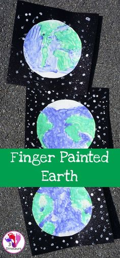 Easy to Make Finger Painted Planet Earth - fun projects for Earth Day or a project on planet earth - 3Dinosaurs.com #earthday #fingerpainting #3dinosaurs