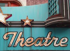 Vintage Old Neon Theater Sign in Aqua and Orange, Rust-8 x 10 Photograph, via Etsy.