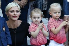 Princess Charlene of Monaco arrives with her twins Prince Jacques (R) and Princess Gabriella to take part in the traditional Monaco's picnic in Monaco, on September 1, 2017.