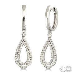 1/2 Ctw Round Cut Diamond Tear Drop Earrings in 14K White Gold
