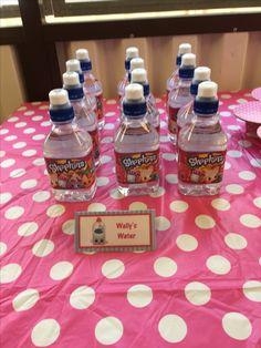 Shopkins water bottles, using free printable labels.