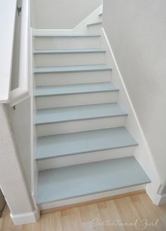 painted blue and white staircase I fester világoskék-fehér lépcső Painted Staircases, Painted Stairs, Spiral Staircases, White Staircase, Staircase Design, Staircase Ideas, Staircase Runner, Modern Staircase, Basement Stairs