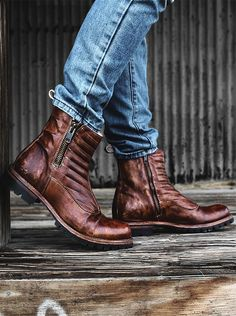 Light brown leather moto style boot by BEDSTU. Beautiful hand quilted front, cushioned insole, and dual side zippers. Pair with light denim for a nice color contrast.