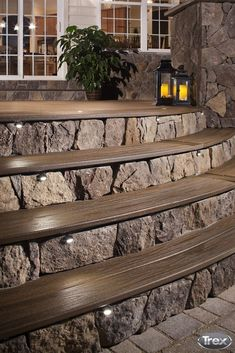 One of the hottest trends is incorporating warming features into outdoor spaces. Take part in this trend by integrating LED lights into your deck railing, stairs and yard. #outdoorliving #backyard #de (One Step Stairs) #deckbuildingtips #deckbuildingstepbystep