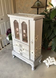 Vintage Jewelry Armoire / Upcycled Wooden Jewelry Box / OOAK Painted Designer Jewelry Chest/ Jewelry Storage / Womens Gifts by ByeByBirdieDesigns on Etsy https://www.etsy.com/listing/573922181/vintage-jewelry-armoire-upcycled-wooden