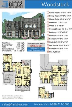 1 3/4 Story 4 Bed, 2 1/2 Bath 2496 sq ft Frank Betz Associates Concept to Homeplan