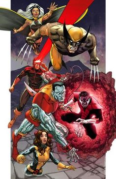 X-MEN: one of my favorite team lineups Cyclops, Storm, Wolverine, Colossus, Nightcrawler and Kitty Pryde (Shadowcat) and Lockheed the dragon (not shown here*). Comic Book Characters, Marvel Characters, Comic Character, Comic Books Art, Comic Art, Book Art, Marvel Comics Art, Marvel Vs, Marvel Heroes