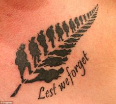 The tattoo that the social media world fell in love with -  World War I soldiers marching into the distance in a shape of a fern