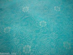 DRESS AQUA BLUE FLORAL SILK SATIN CHARMEUSE FABRIC by y